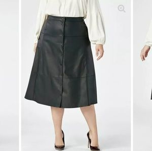 Faux Leather Midi Button Front Skirt
